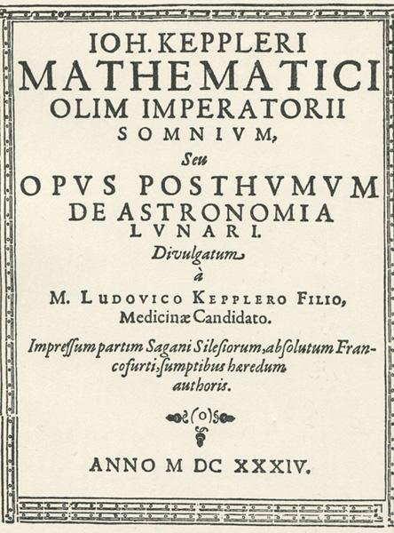 Титульная страница сочинения «Somnium» Иоганна Кеплера, изданного в 1634 году.
