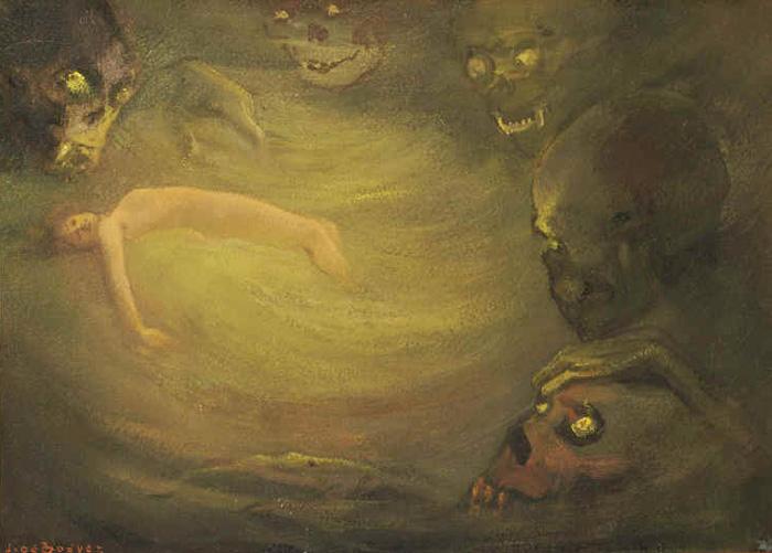Ян Франс де Бувер. Непоправимое. Иллюстрация к «Цветам зла» Шарля Бодлера. Смешанная техника на деревянной панели. 1921.