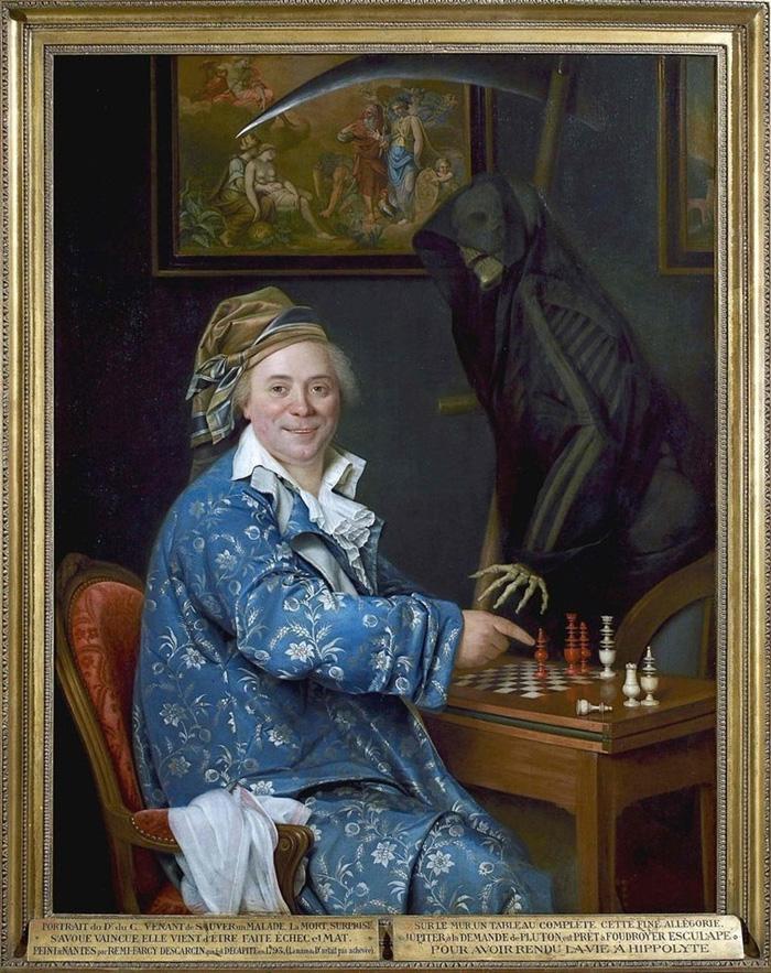 Реми-Фюрси Дескарсен (Remi-Fursy Descarsin). Портрет доктора де С., играющего в шахматы со смертью. 1793. Фото из Википедии.