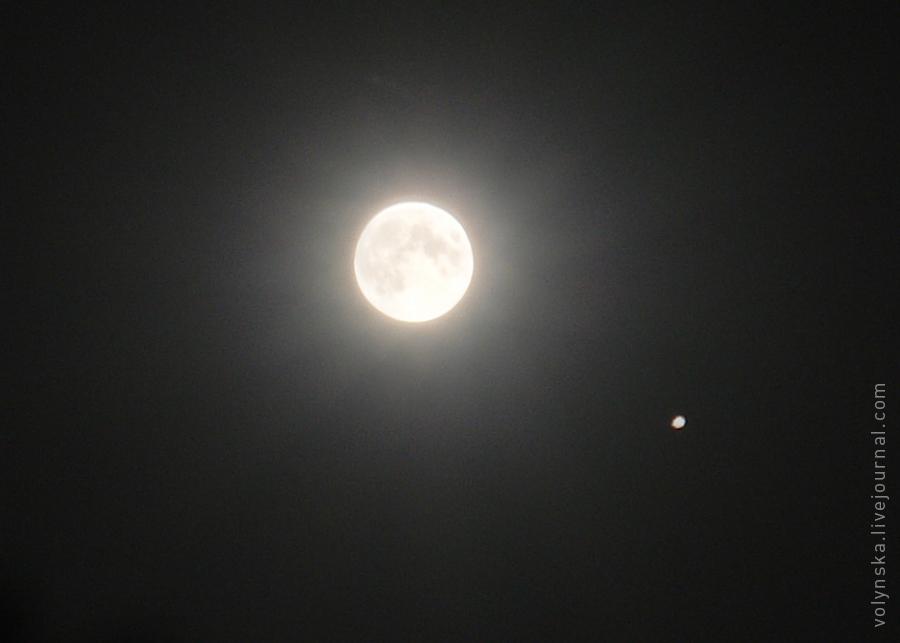 Сближение Луны и Юпитера ночью 17 июня 2019 года, Киев.