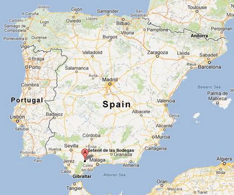 Сетениль де лас Бодегас на карте Испании