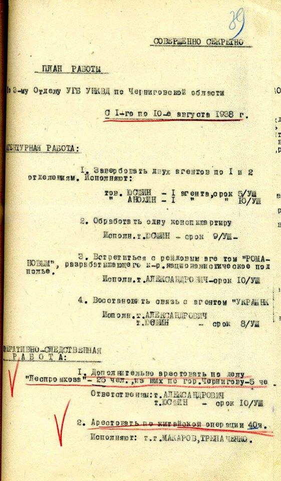 План по арестам НКВД