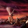 Alien Radiotelescope probes the sky for signs of Intelligent Life - Painting by Don Dixon