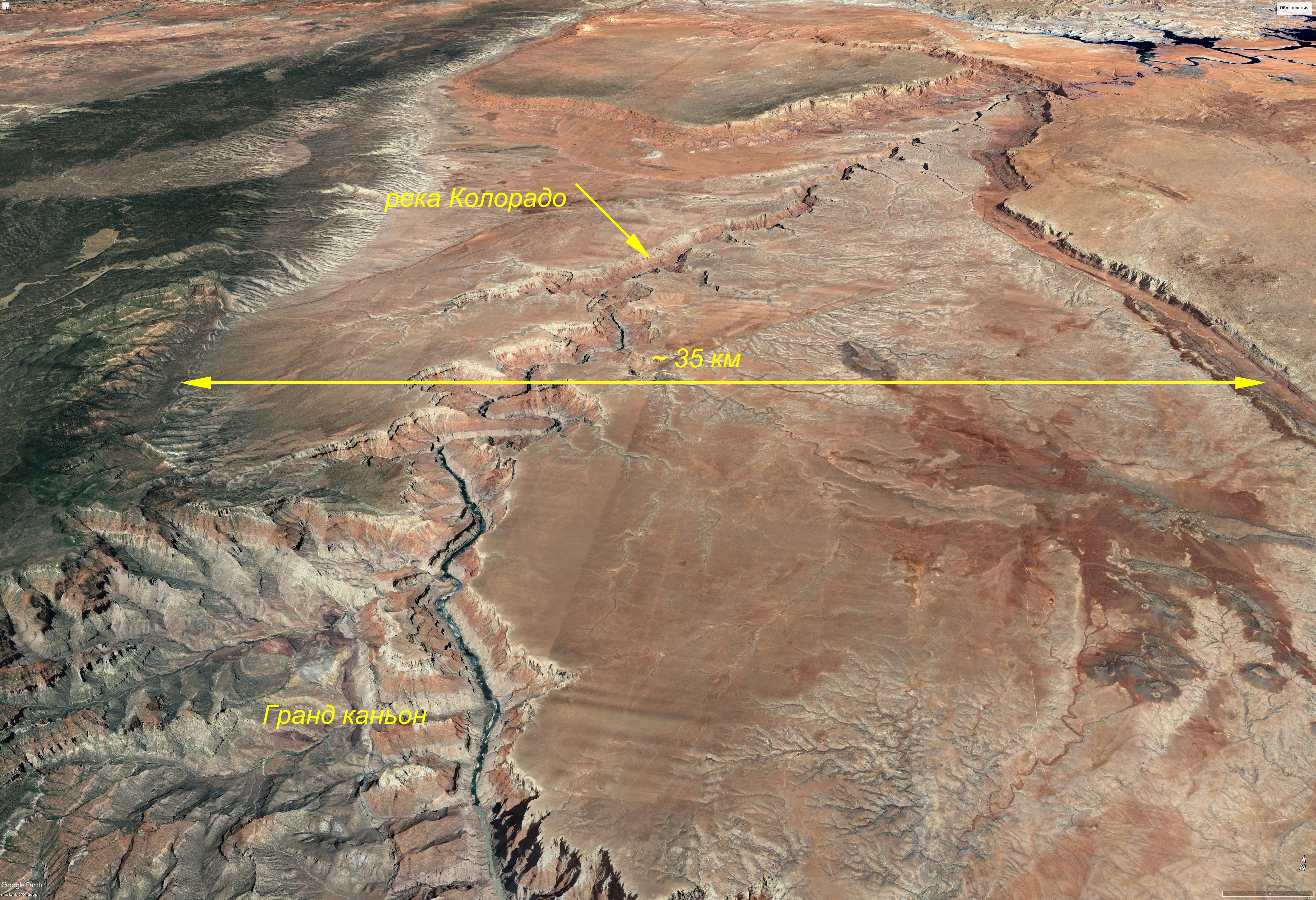 Гранд-Каньон (ширина долины 35 км)