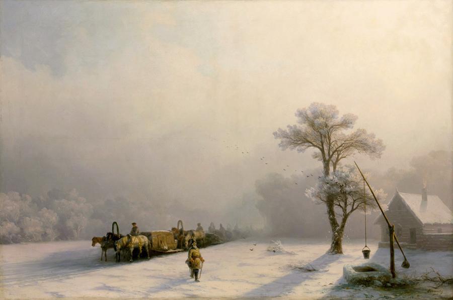Зимний обоз в пути