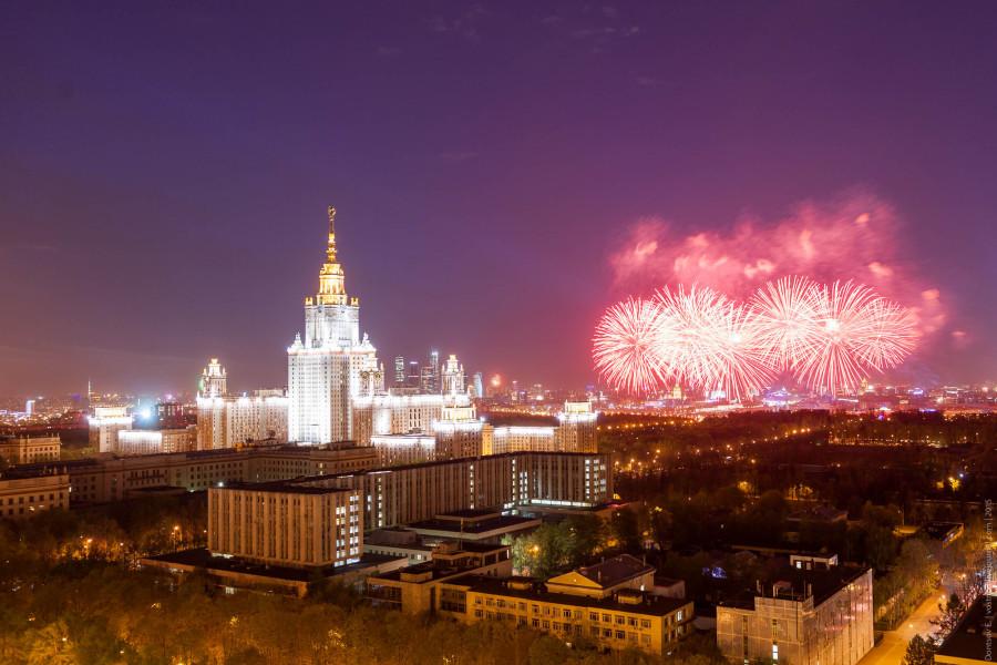 салют, мгу, москва, день победы, 2015, фейерверк