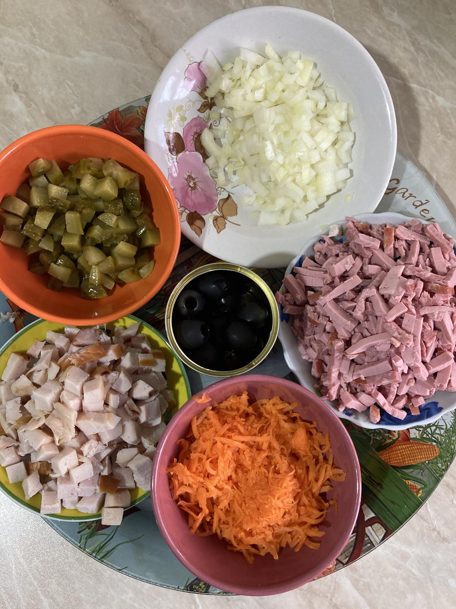 Нарубленные для солянки продукты