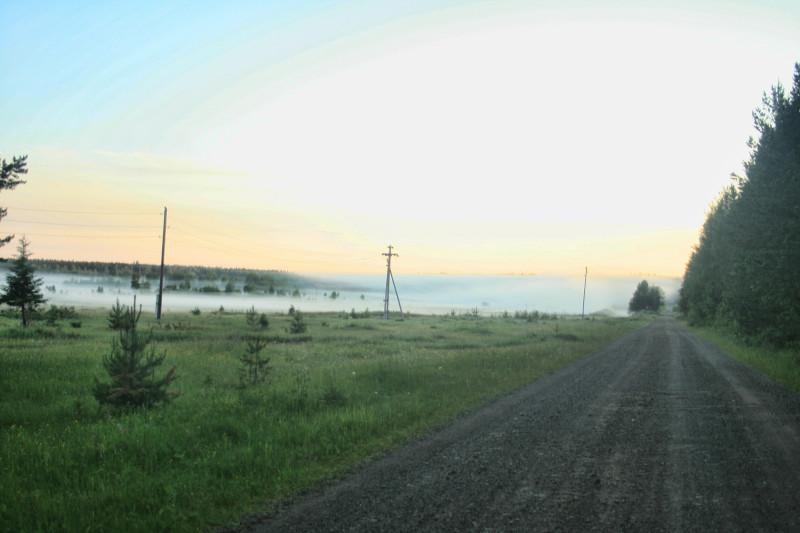 Утренний туман на грунтовке под Кытлымом