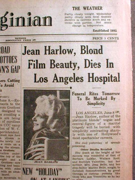 jean harlow death news virginian 00a