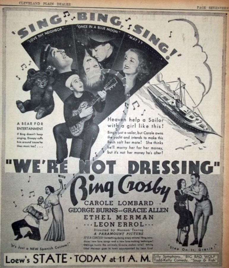carole lombard we're not dressing ad cleveland plain dealer 00a