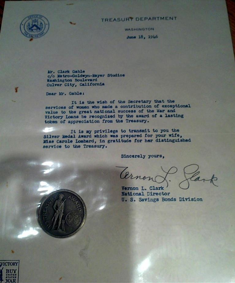carole lombard treasury medal letter large