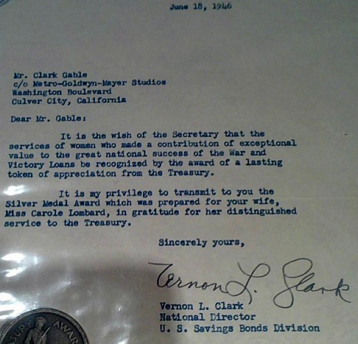 carole lombard treasury medal letter closeup