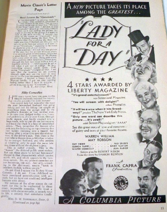 movie classic oct 1933 lady for a day ad large