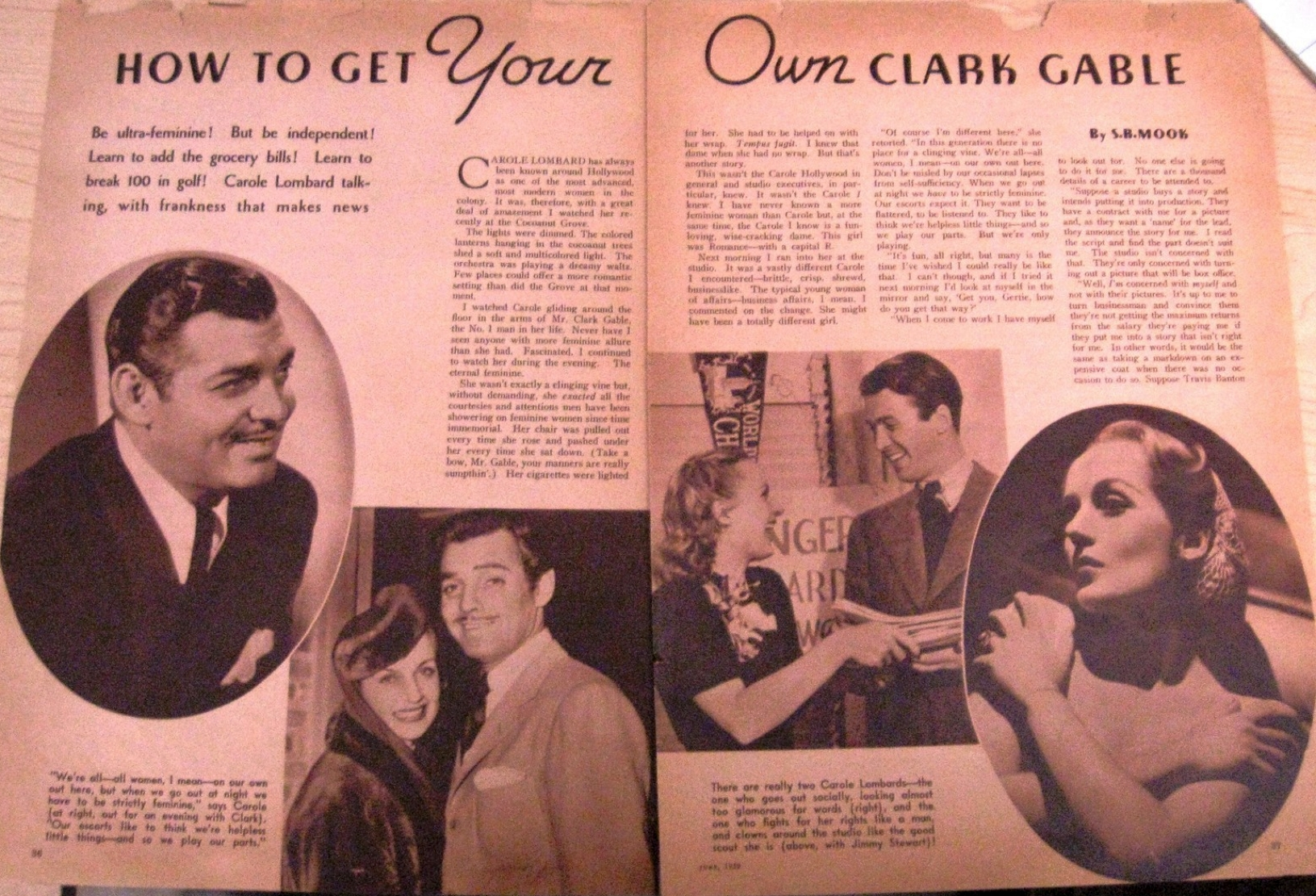 carole lombard movie mirror june 1939 how to get your own clark gable large