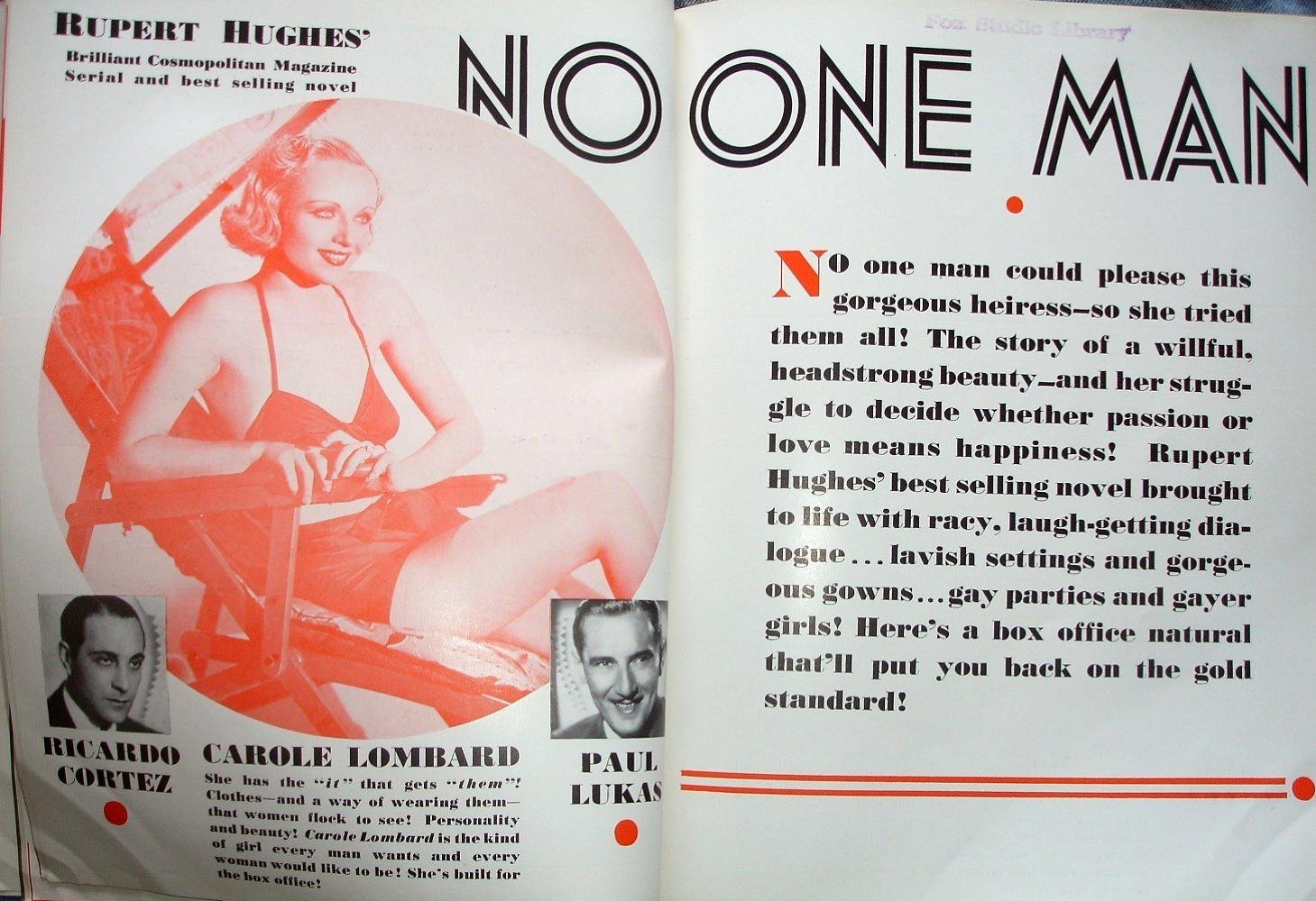 carole lombard no one man motion picture herald 011632a