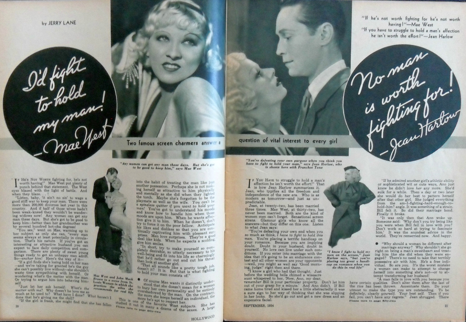 hollywood magazine september 1934a jean harlow mae west