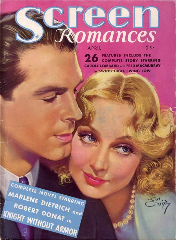 carole lombard screen romances april 1937