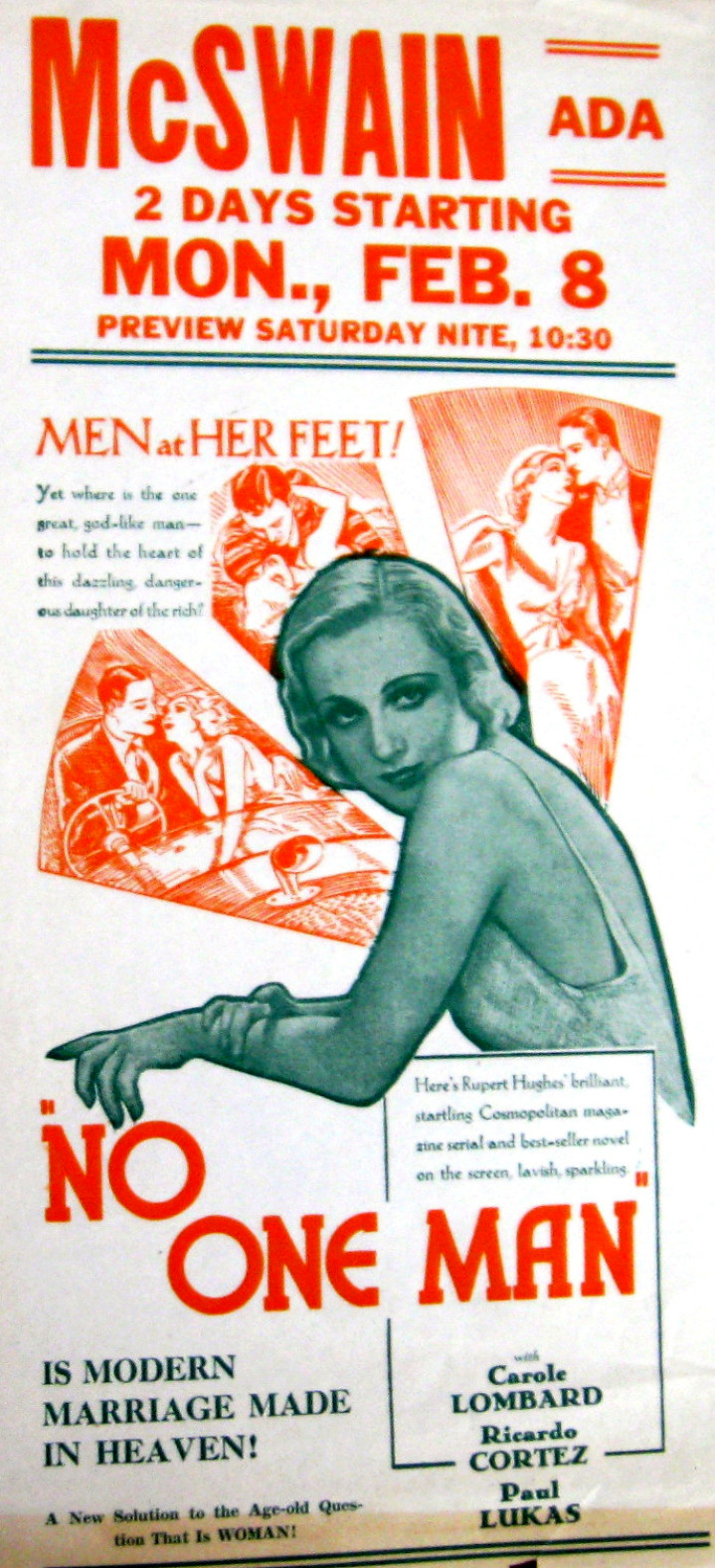 carole lombard no one man ad sheet 00a