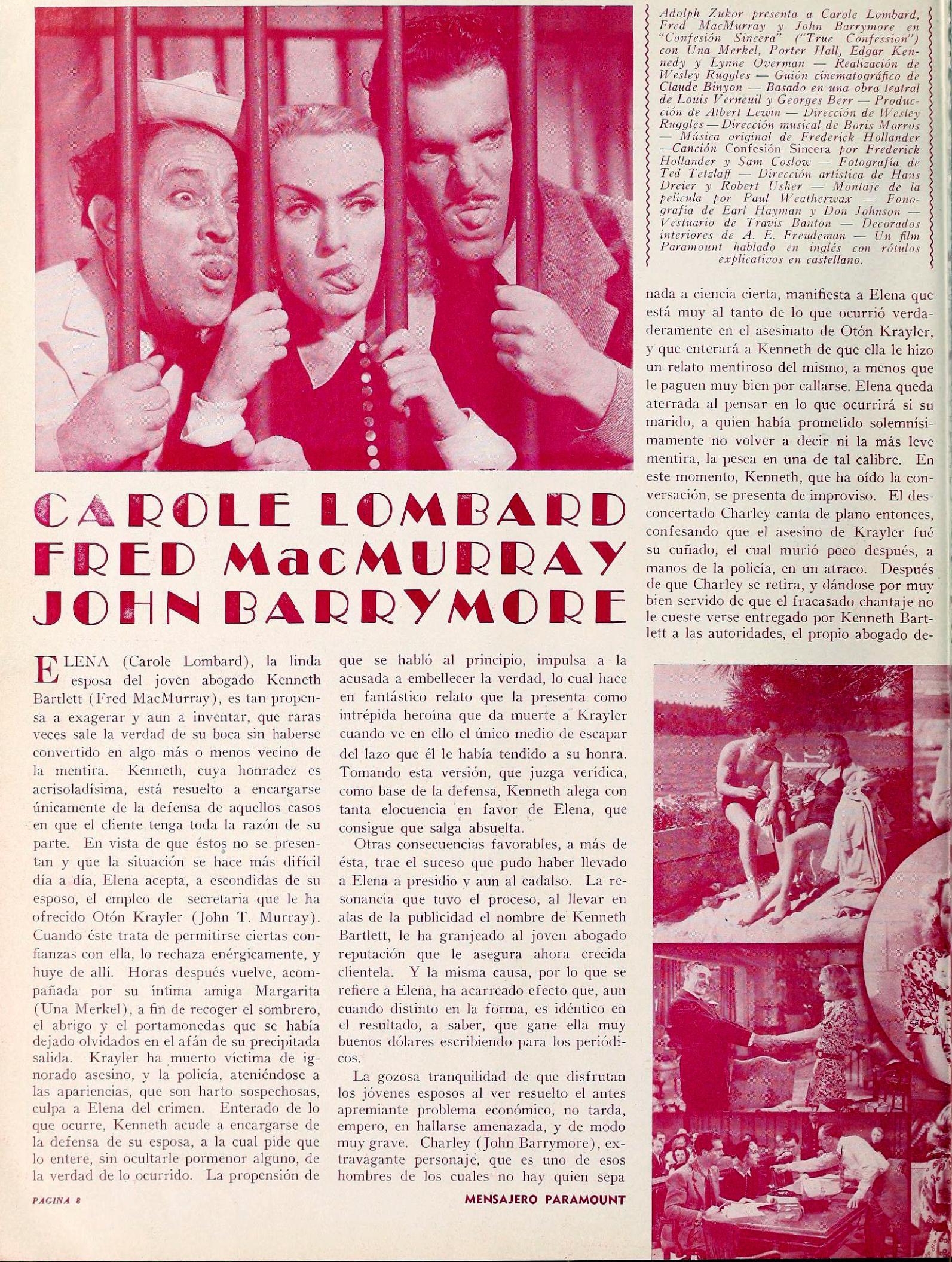 carole lombard true confession mensajero paramount jan 1938aa