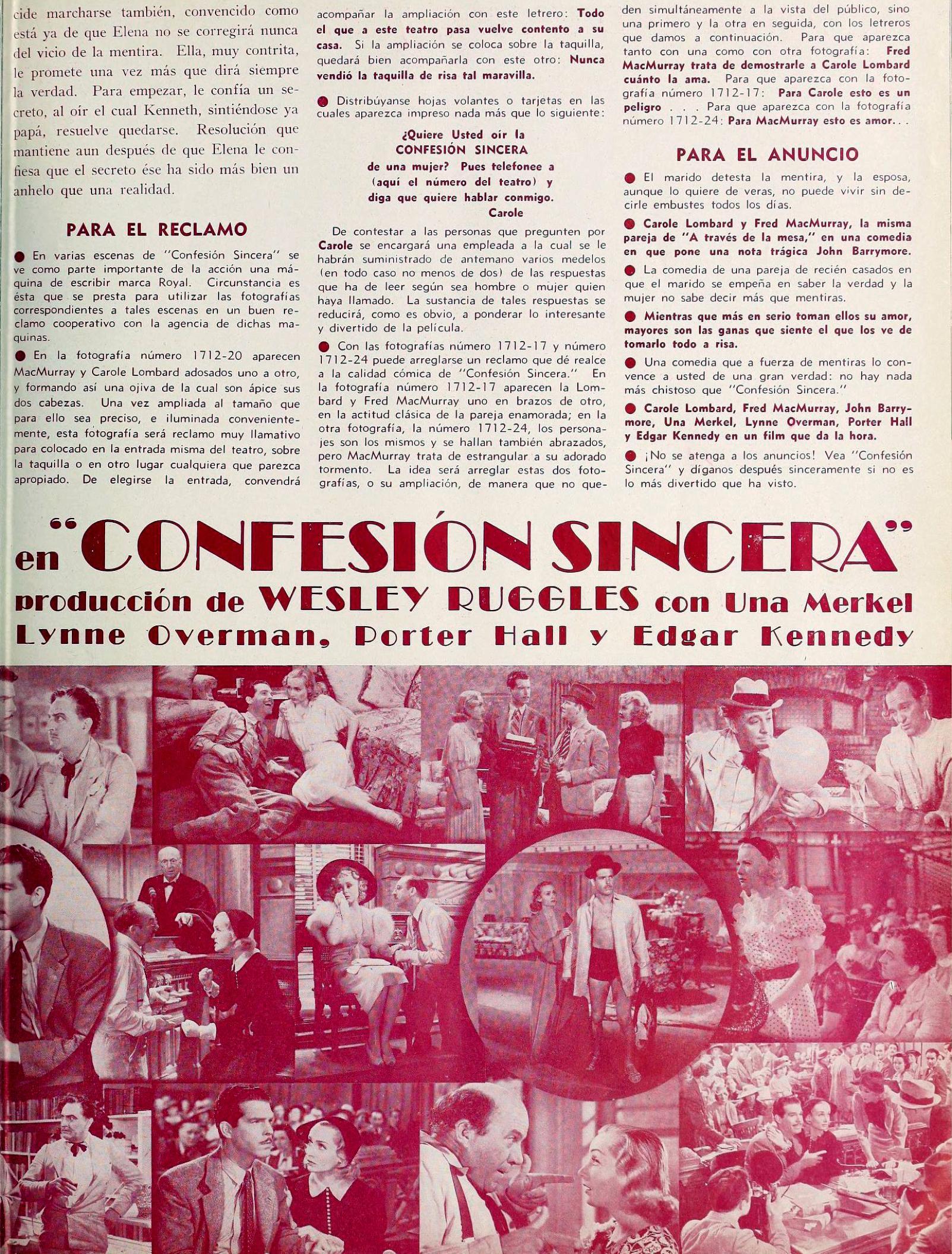 carole lombard true confession mensajero paramount jan 1938ba