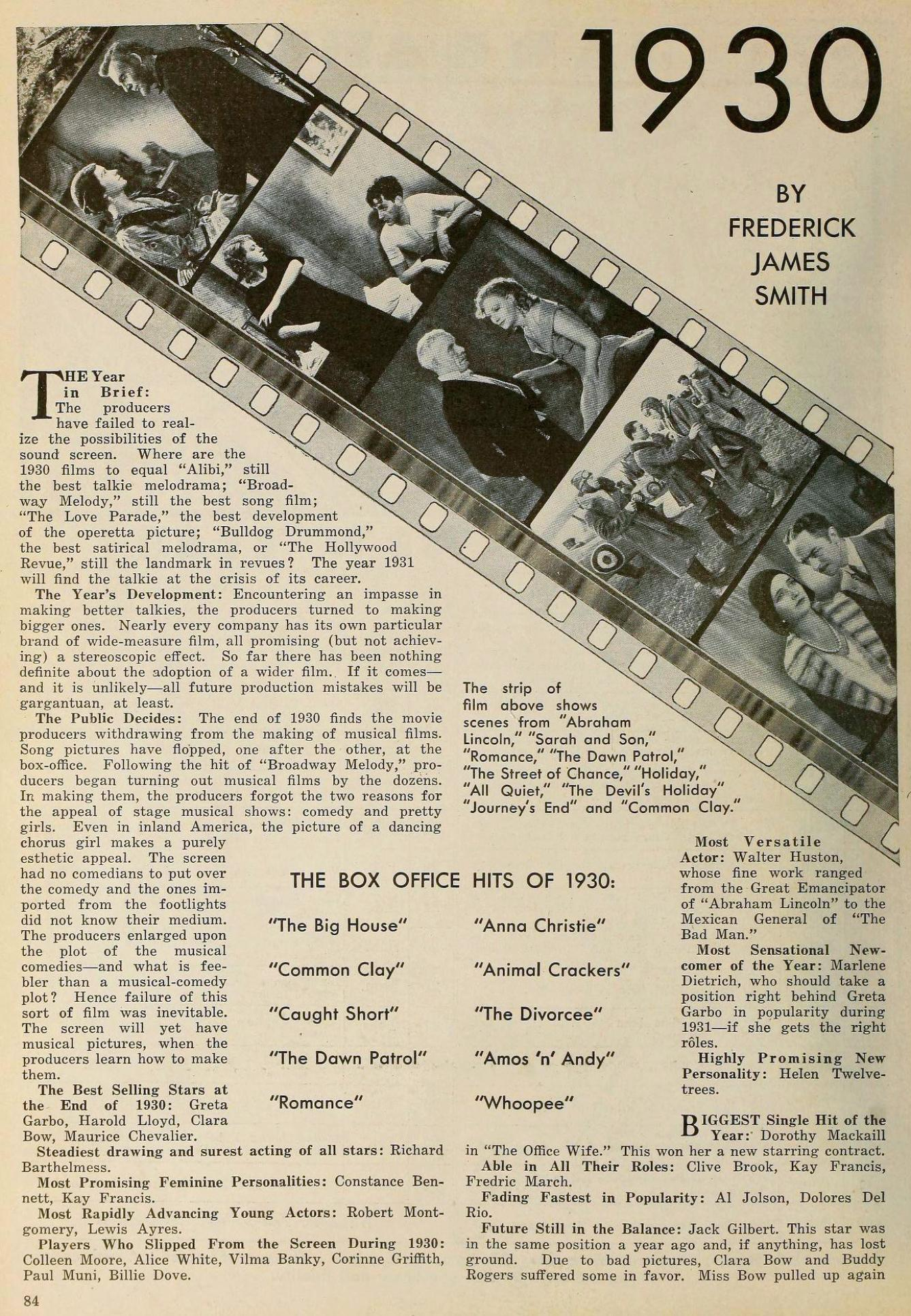 the new movie magazine january 1931aa 1930 in review