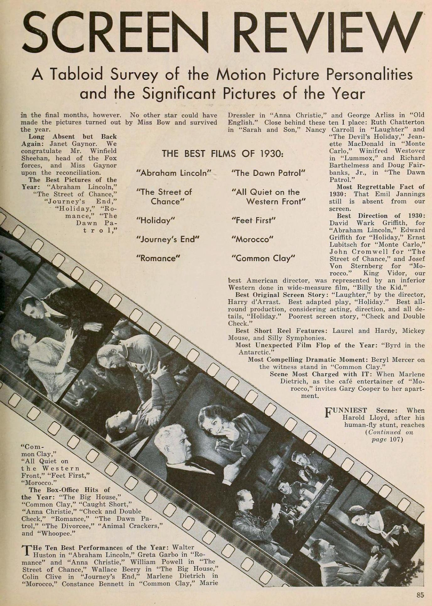the new movie magazine january 1931ba 1930 in review