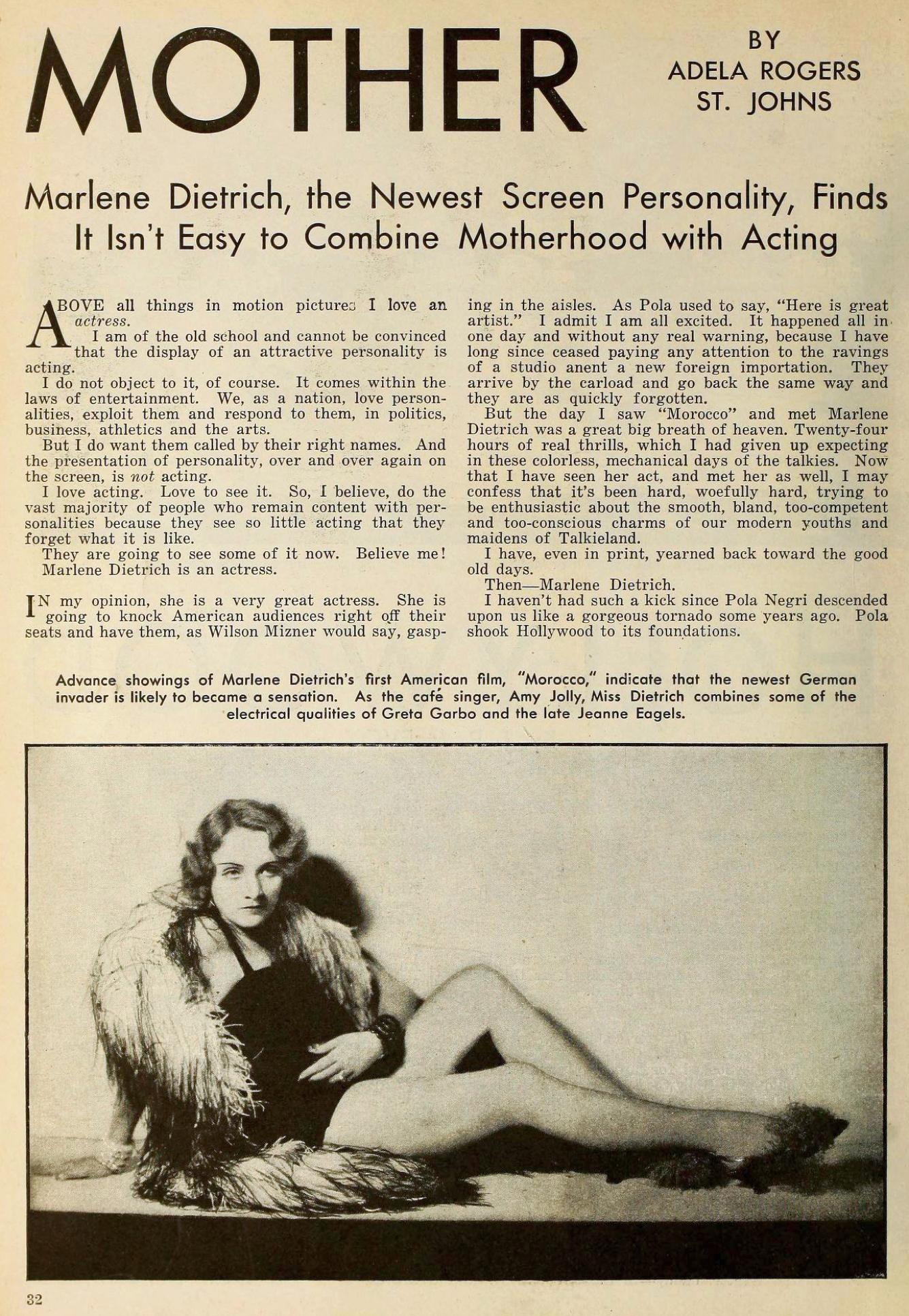 marlene dietrich the new movie magazine january 1931aa