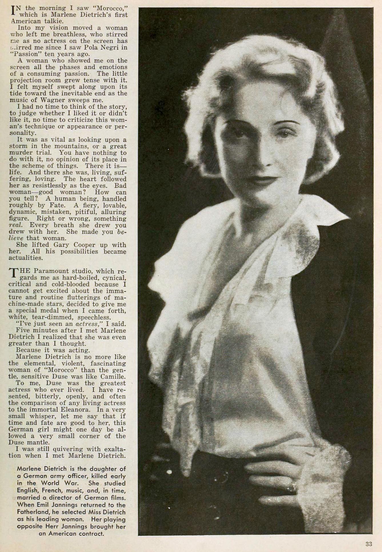 marlene dietrich the new movie magazine january 1931ba