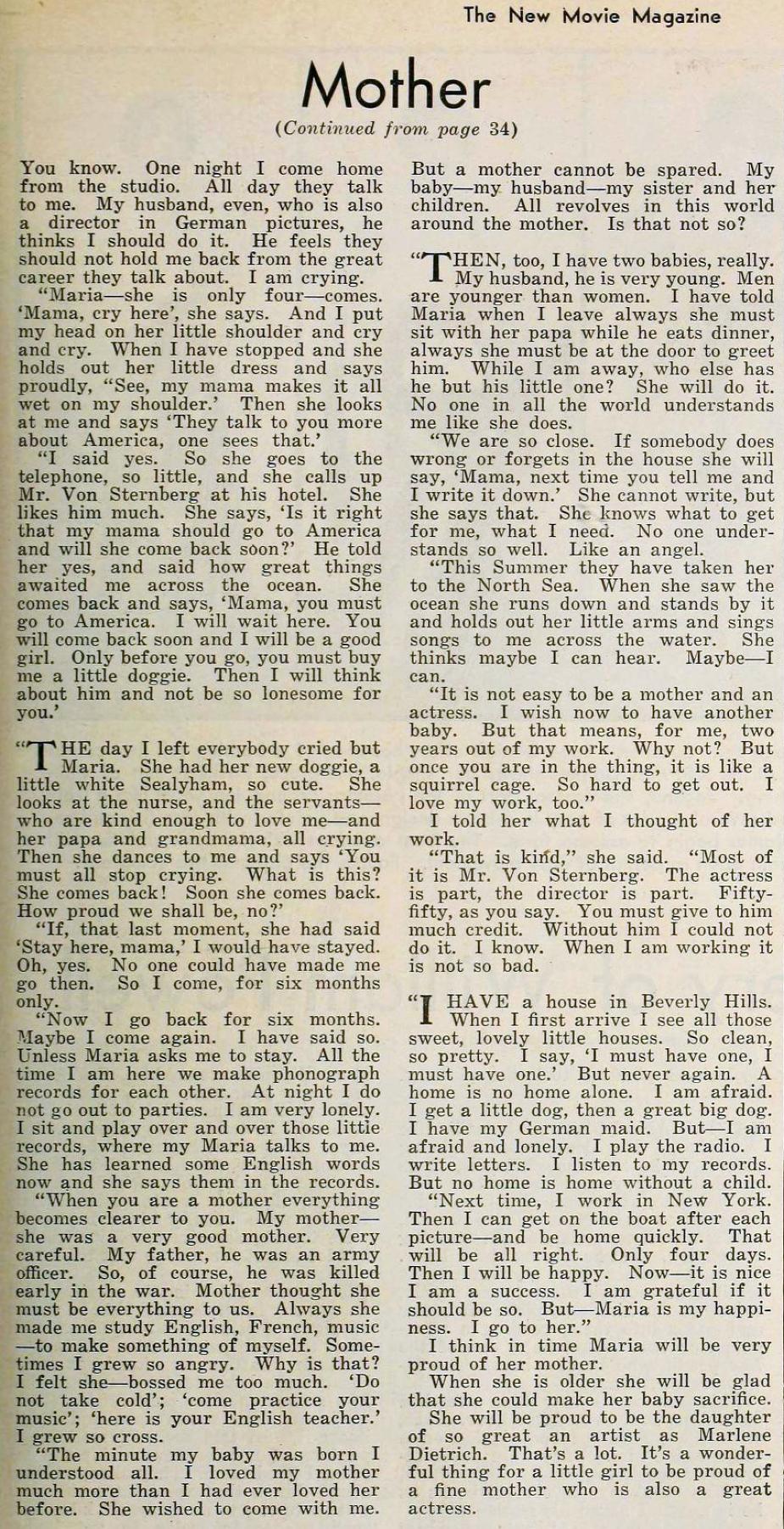 marlene dietrich the new movie magazine january 1931da