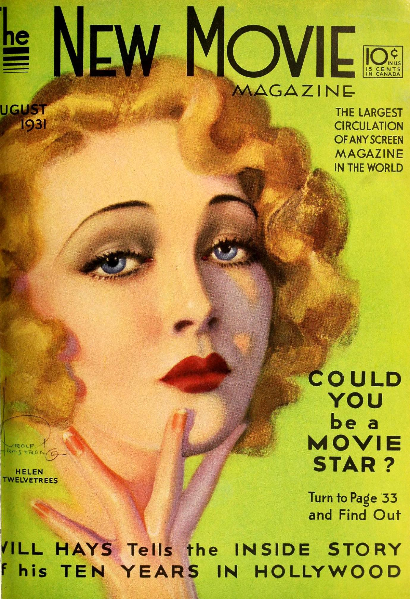 the new movie magazine august 1931 cover large