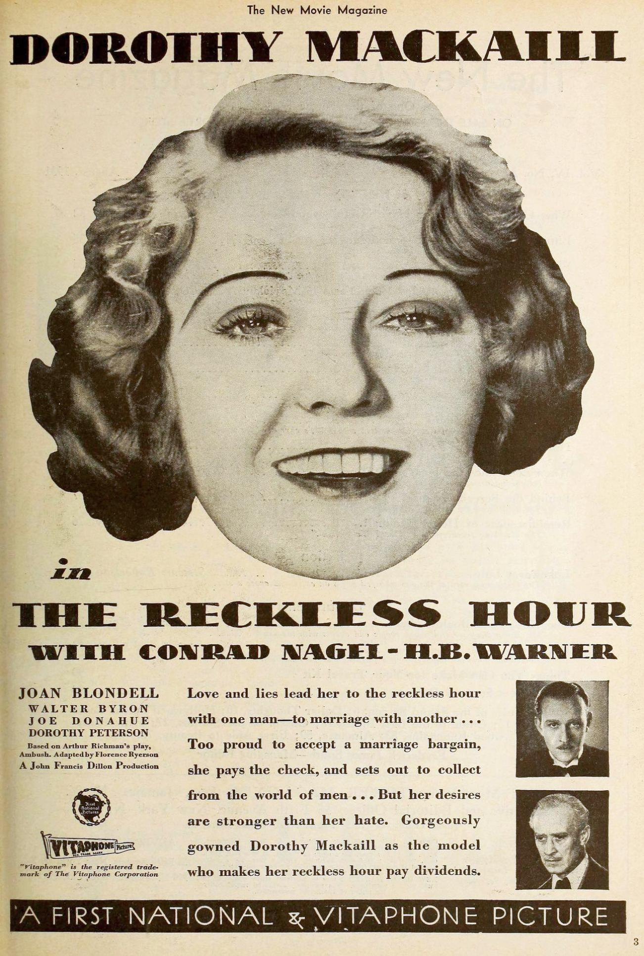 the new movie magazine august 1931 dorothy mackaill large