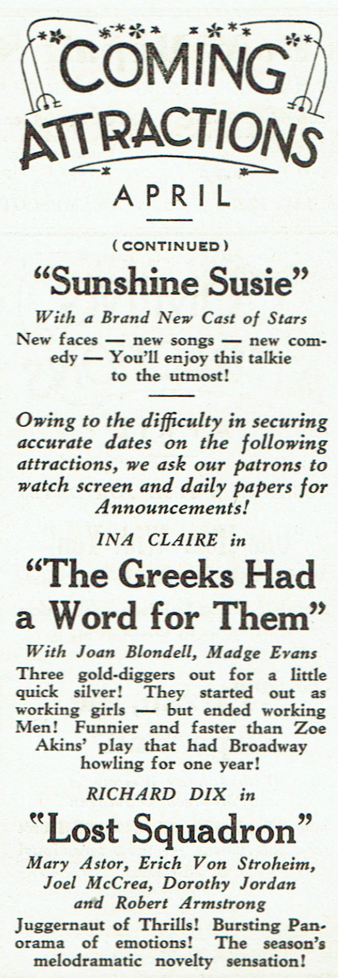 carole lombard publix theatre screen review april 1932kb