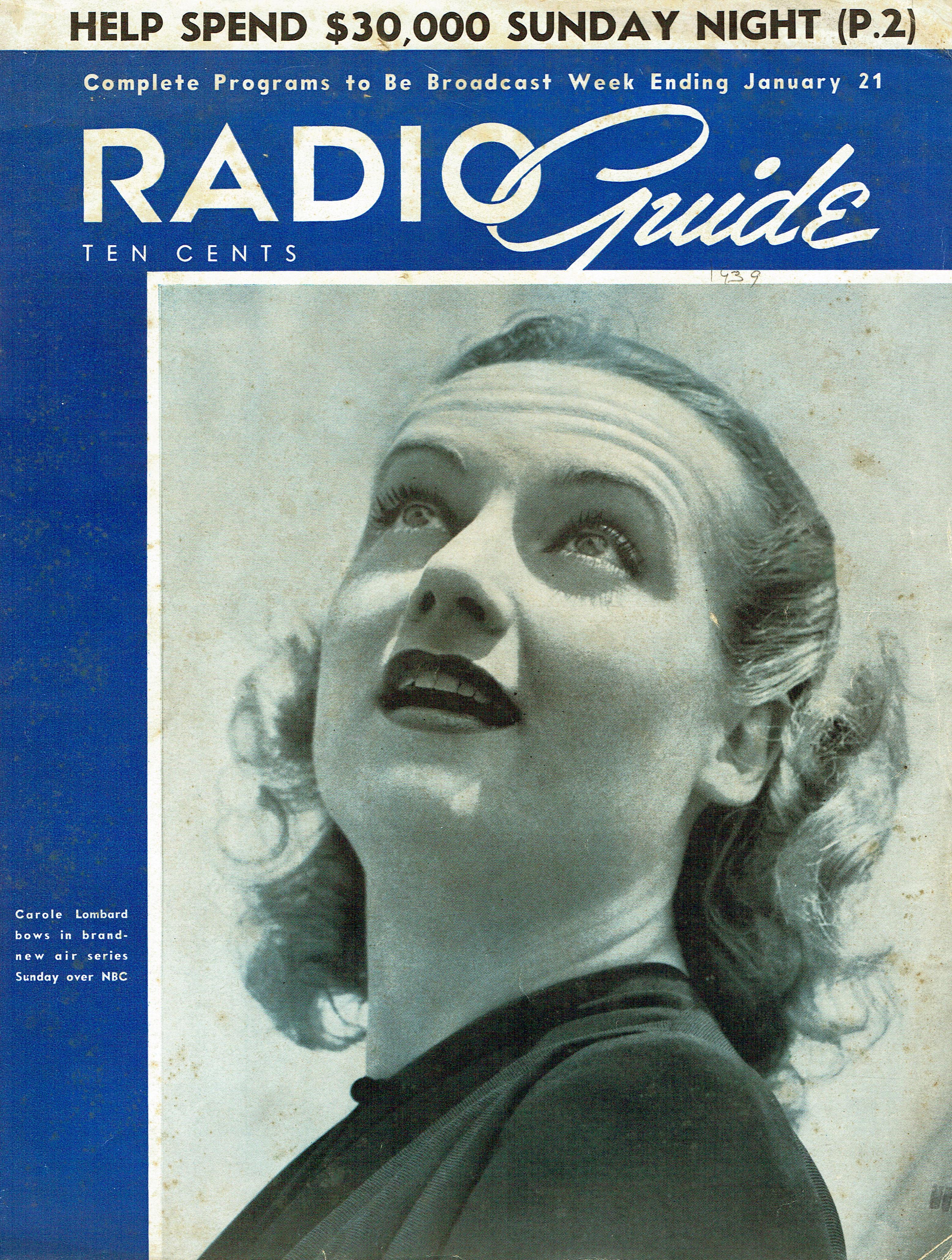carole lombard radio guide 011539 cover
