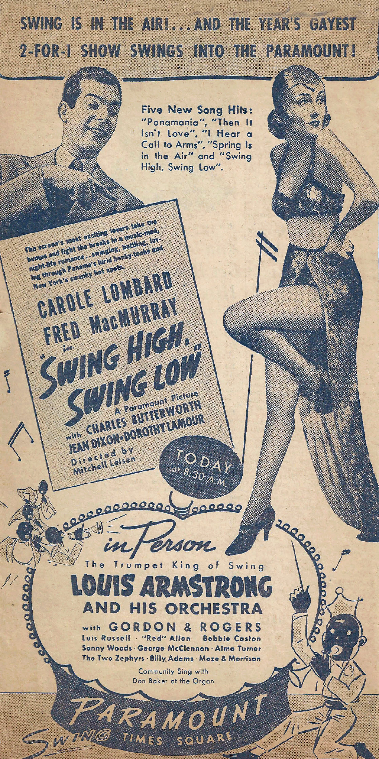 carole lombard swing high, swing low ad new york paramount larger