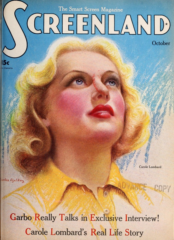 carole lombard screenland october 1935 cover