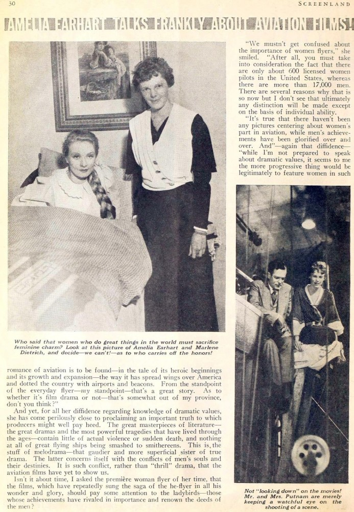 amelia earhart screenland june 1933ca