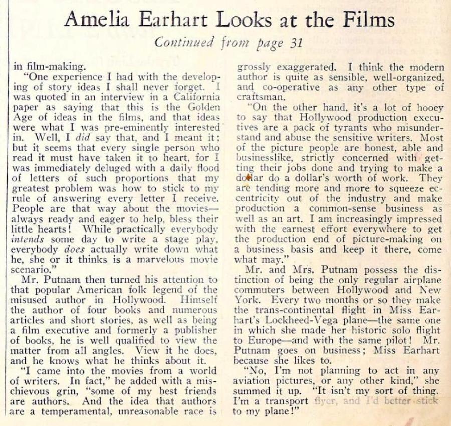 amelia earhart screenland june 1933ea
