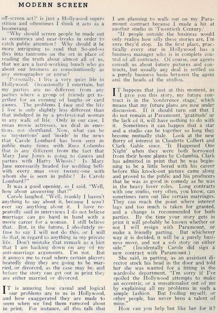 carole lombard modern screen october 1934da