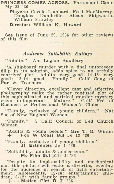 carole lombard motion picture review digest september 1936 the princess comes across 00a