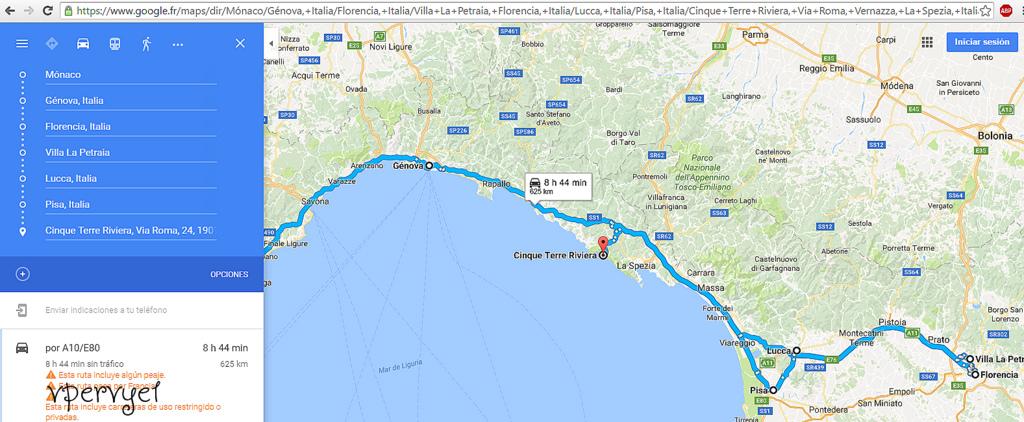 mapa viaje toscana