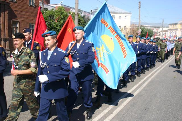 Команда военно-патриотического клуба на всероссийском слете военно-спортивных клубов в Рязани