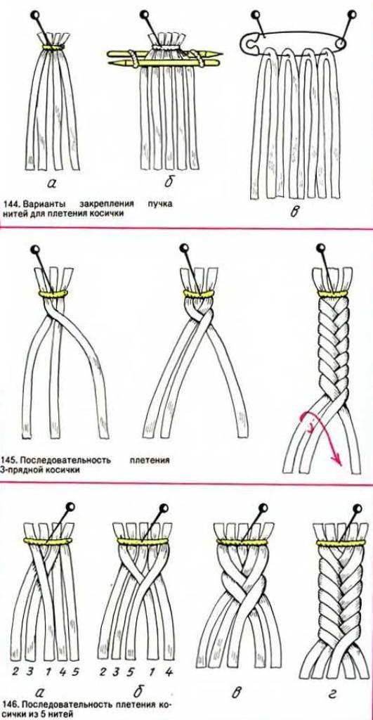 Как вязать косу из ниток