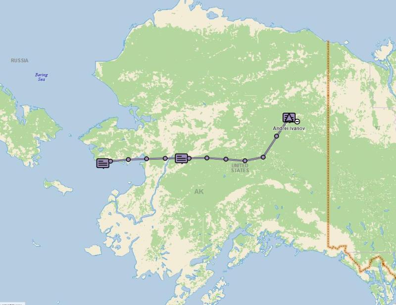 Трек нашего полёта из Нома до Форт Юкон
