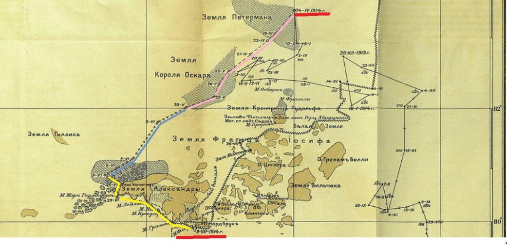 Карта на которой показан поход партии В. Альбанова:розовым цветом – маршрут, пройденный пешком с грузом по дрейфующим льдам.голубым цветом – путь, на дрейфующем к югу льду.жёлтым цветом – путь, пройденный на каяках в море.