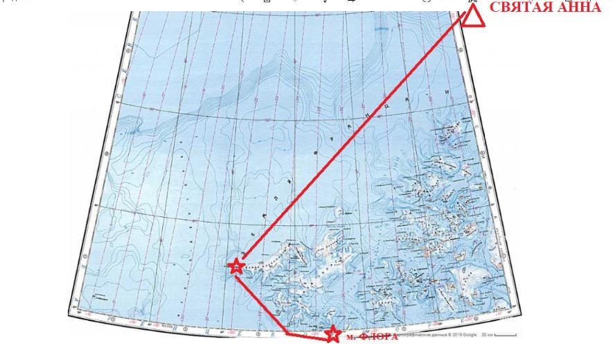 Маршрут партии на современной мелкомасштабной топографической карте.