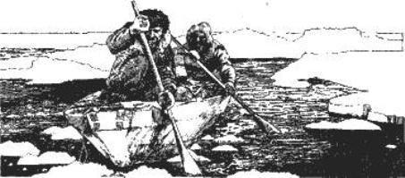 Передвижение на каяке, используя вёсла.
