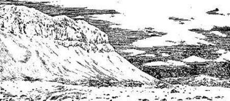 """Мыс Флоры. До него дошли только двое из одинадцати человек. Здесь В. Альбанов и А. Конрад были случайно обнаружены участниками экспедиции Г.Я. Седова (уже покойного), на """"Св. Фоке"""" и доставлены в Архангельск."""