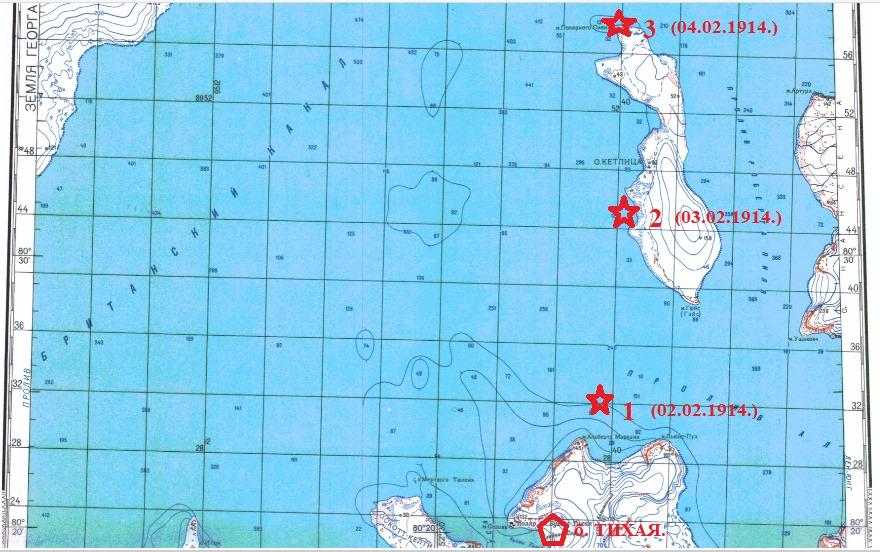 """Места лагерных стоянок от бухты Тихая - место зимовки """"Св. Фока"""" до северной оконечности острова Кетлицланд."""