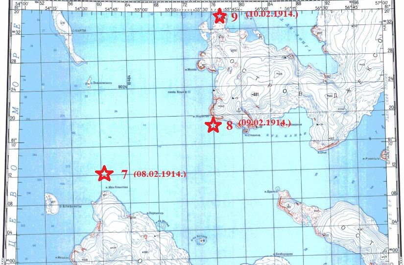 Места лагерных стоянок от мыса Мак - Клинтока до К. Климентса.