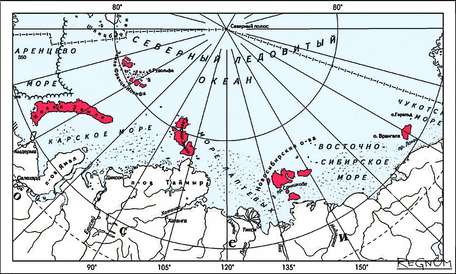 Основные места обитания белых медведей в Российской Арктике